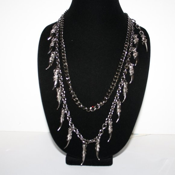 "Gun metal dagger punk chain necklace 22"""